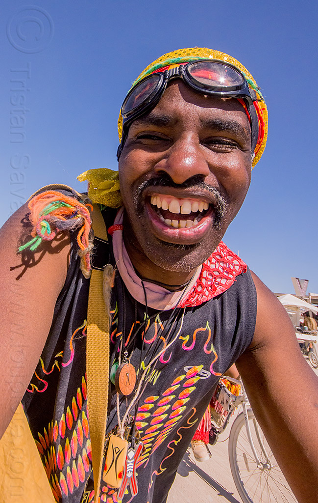 man with big smile - burning man 2015, goggles, man, moustache, mustache