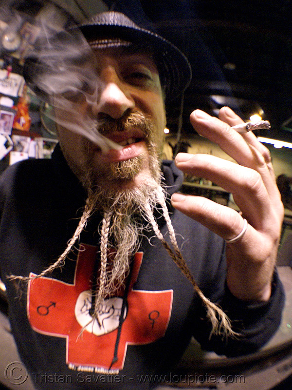 breaded beard, braided beard, cigarette, fisheye, flaming lotus girls, smoking