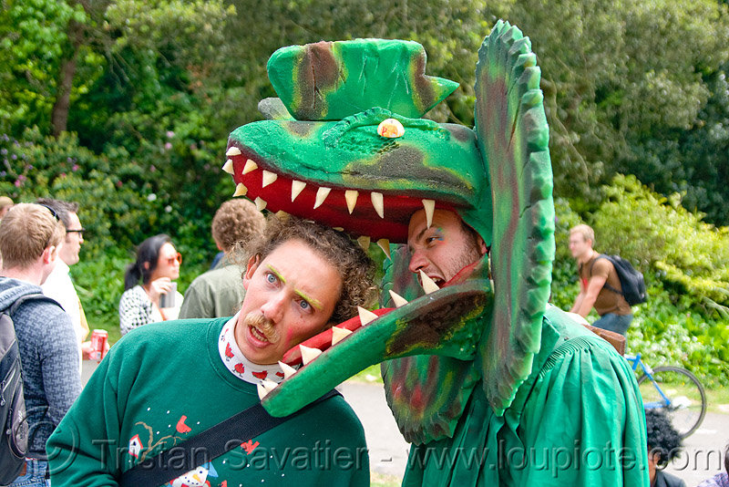 dinosaur costume, bay to breakers, biting, dinosaur head, eating, festival, footrace, green, men, people, street party, teeth