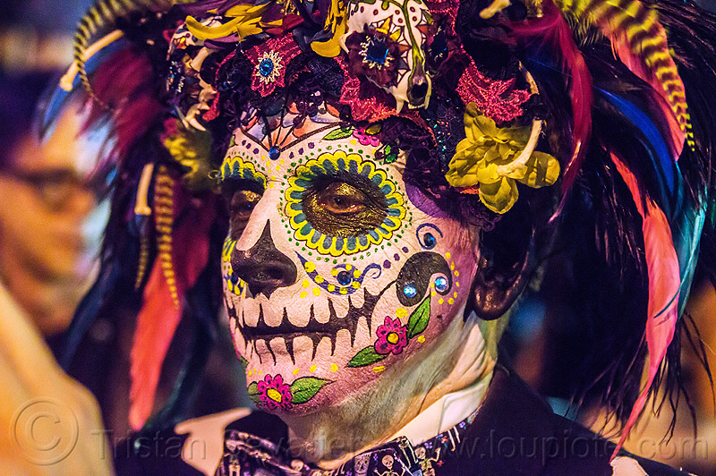 man with elaborate sugar skull makeup and headdress - dia de los muertos (san francisco), day of the dead, dia de los muertos, face painting, facepaint, halloween, man, night, sugar skull makeup