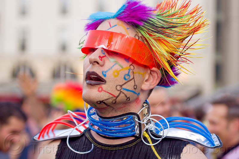 man with futuristic costume, costume, futuristic, gay pride, man, paris, visor