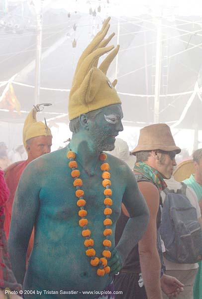 man with green body paint - burning-man 2004, body art, body paint, body painting, burning man, center camp, green