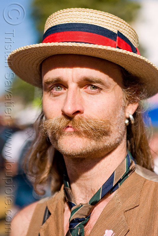 man with moustaches and straw hat - randal smith, costume, mustache, neck tie, randal alan smith