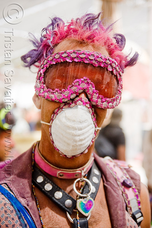 man with pink goggles and dust mask - burning man 2009, burning man, dust mask, pink goggles, woofy