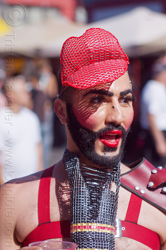 man with red lips, beard, costume, fashion, hat, headwear, makeup