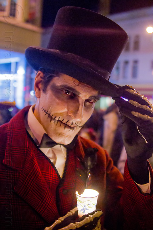 man with skull makeup and black hat - michael paim, candle, day of the dead, dia de los muertos, face painting, facepaint, halloween, hands, hat, man, michael paim, night, sugar skull makeup