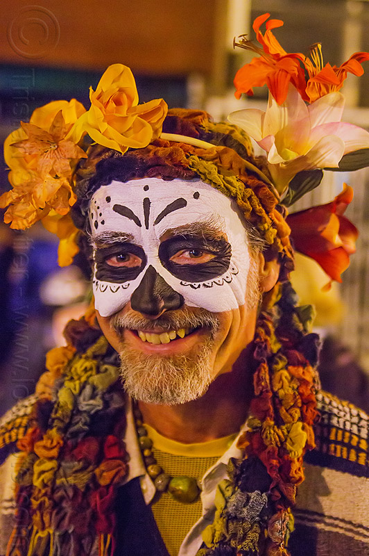 man with skull makeup and flower headdress, beard, day of the dead, dia de los muertos, face painting, facepaint, flower headdress, flowers, halloween, man, night, sugar skull makeup