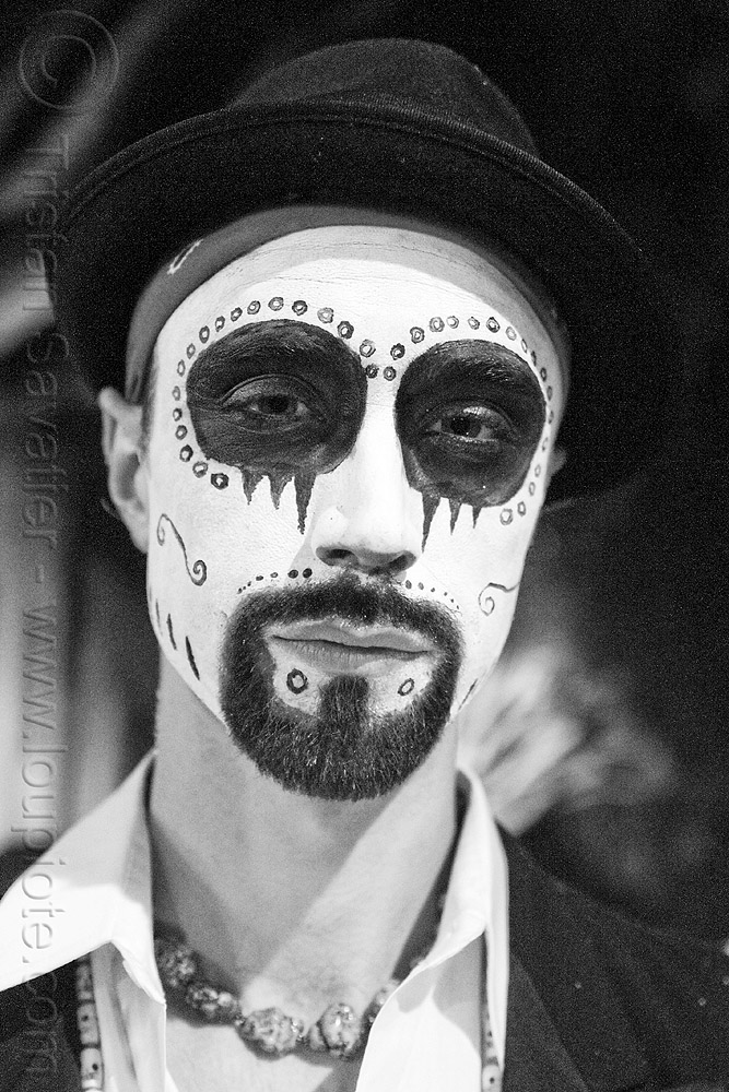 man with skull makeup - bindis - dia de los muertos - halloween (san francisco), beard, bindis, day of the dead, dia de los muertos, face painting, facepaint, goatee, halloween, hat, man, night, sugar skull makeup