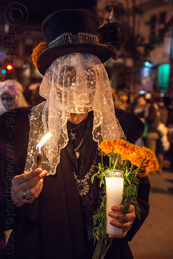man with skull mask - white lace veil - dia de los muertos, burning, day of the dead, dia de los muertos, fire, flame, flowers, glass candle, halloween, hat, lace veil, marigold, night, skull mask, white veil
