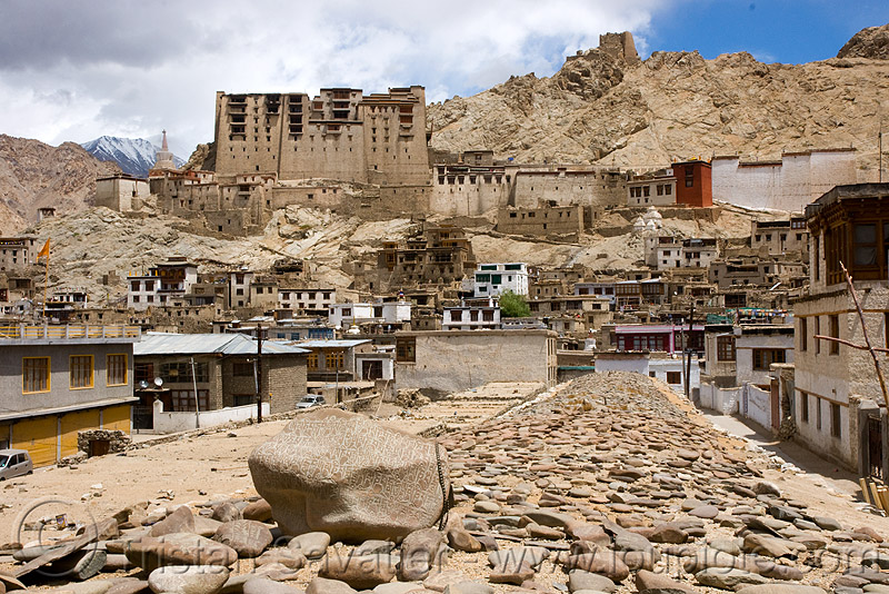 mani stones - leh - ladakh (india), carved, ladakh, leh, mani stones, mani wall, mountains, prayer stone wall, prayer stones, tibetan, लेह