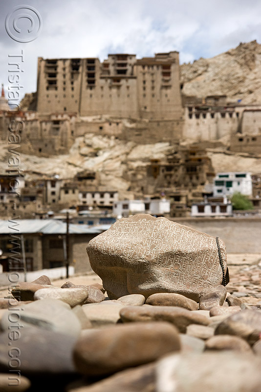 mani stones - leh - ladakh (india), carved, mani wall, prayer stone wall, prayer stones, tibetan, लेह