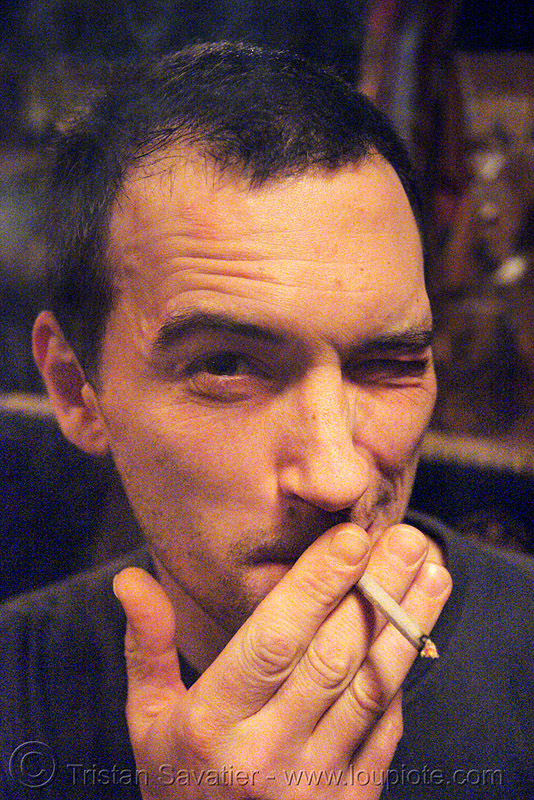 "manolo smoking - bar ""le piano vache""(paris), cigarette, hand, le piano vache, man, manolo, paris, smoker, smoking"
