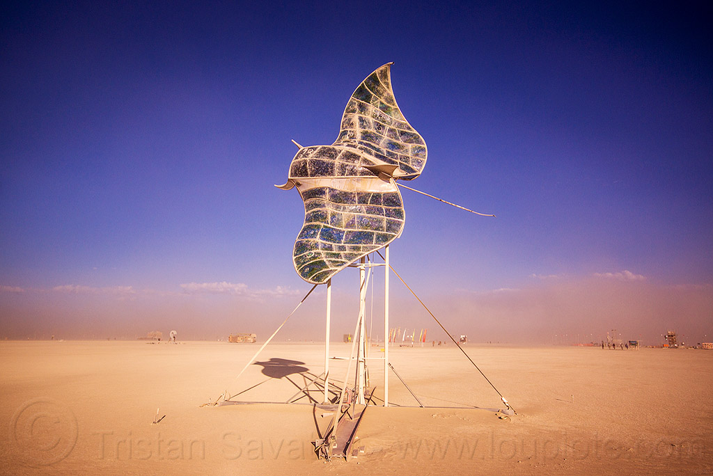 manta ray fly-by - burning man 2015, art, art installation, fish, flying, sculpture, stain glass