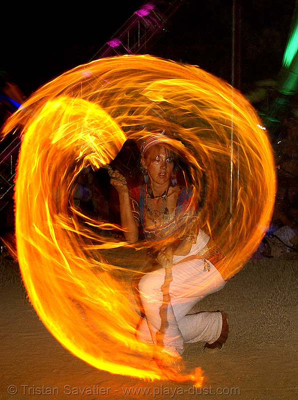 maqi aka lauraleye spinning fire - burning man 2007, fire dancer, fire dancing, fire performer, fire spinning, flames, hilauraly, lauraleye, long exposure, maqi, night, spinning fire