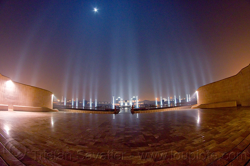marble esplanade and columns under the full moon - ambedkar memorial, architecture, dr bhimrao ambedkar memorial park, fisheye, full moon, india, lucknow, monument, night