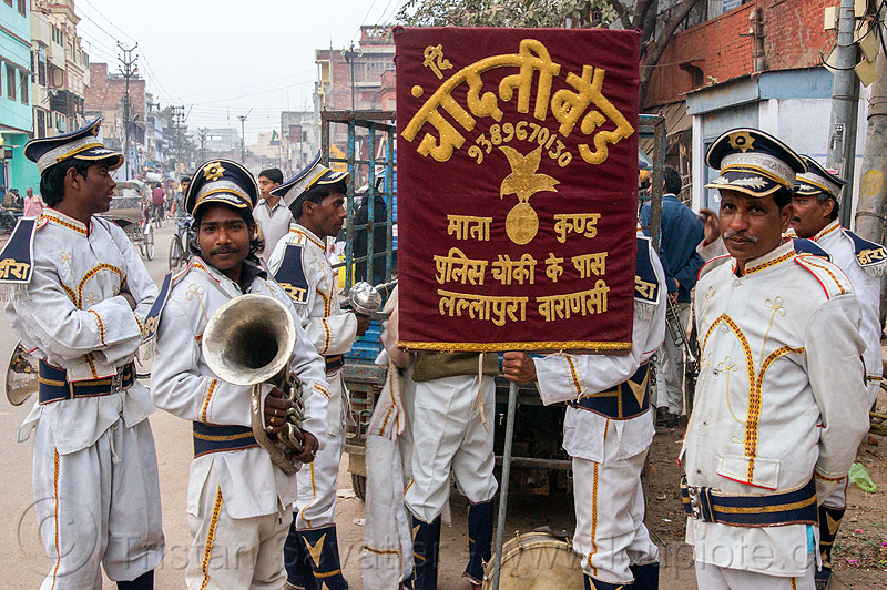 marching band (india), caps, drum, horn, instruments, men, music, people, sax horn, standing, street, uniform, varanasi