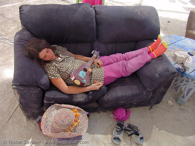maria mango sleeping on couch - burning-man 2005, burning man, couch, maria mango, napping, resting, sleeping, ukulele, woman