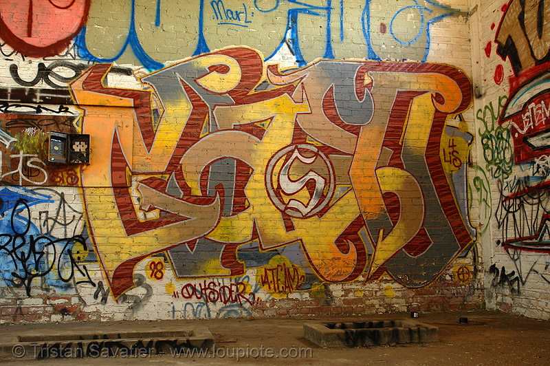maseo graffiti - abandoned factory (san francisco), abandoned factory, derelict, graffiti, industrial, maseo 98, pieces, street art, tags, tie's warehouse, trespassing