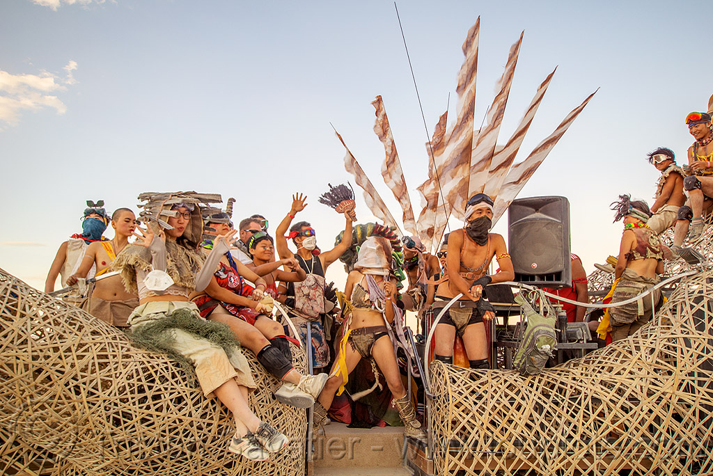 mazu crew on the zulai hand art car - burning man 2016, bamboo, burning man, chinese, flags, mazu camp, zulai art car, zulai hand