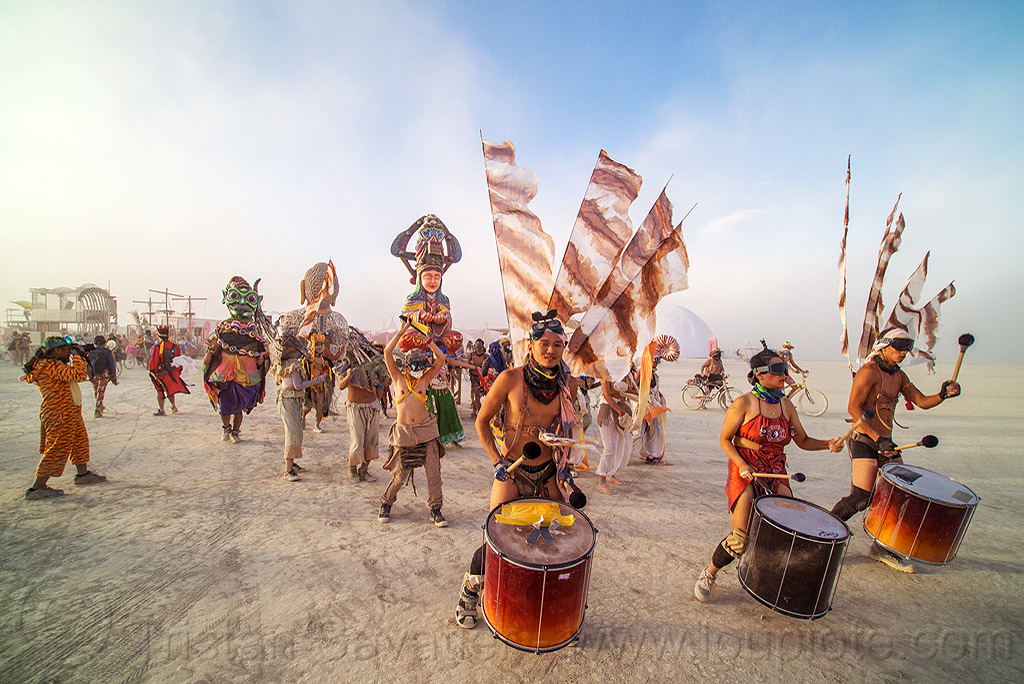 mazu marching band procession - burning man 2016, burning man, chinese, drum band, drummers, drums, flags, marching band, mazu camp, performance, procession