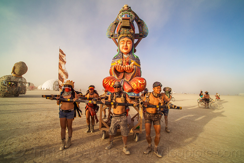 媽祖 - mazu procession - burning man 2016, art, burning man, chinese, matsu, mazu camp, performance, procession, sculpture, 媽祖