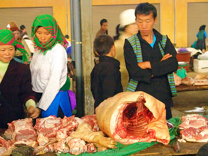meat market - vietnam, asian woman, bacon, butcher, carcass, hill tribes, indigenous, man, meat market, meat shop, mèo vạc, pig, pork, raw meat