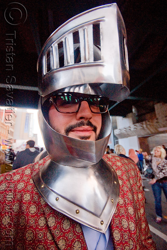 medieval knight helmet, eyeglasses, eyewear, festival, glasses, how weird festival, man, medieval helmet, metal, people, prescription glasses, spectacles