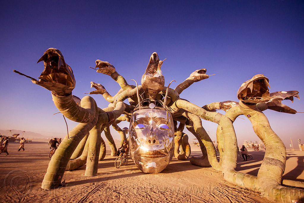 medusa and her snakes - burning man 2015, art installation, burning man, head, kevin clark, medusa madness, metal, sculpture, shadows, snakes, steel