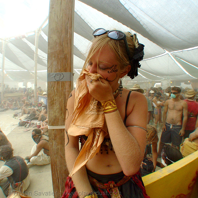 megan surviving the dust storm in center camp - burning man 2007, burning man, dust storm, playa dust, whiteout, woman