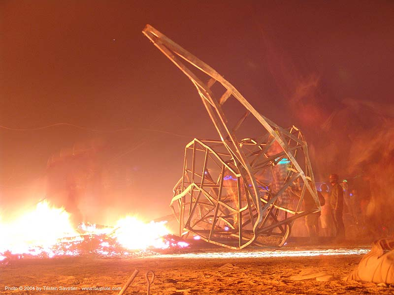 melted ruins of the temple after the burn - burning man 2004, burning man, fire, night, temple burn, temple burning