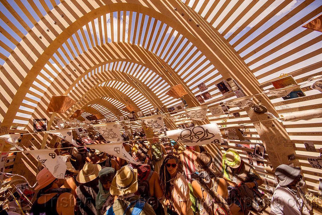 mementos in the temple of promise - burning man 2015, architecture, burning man, inside, interior, temple of promise