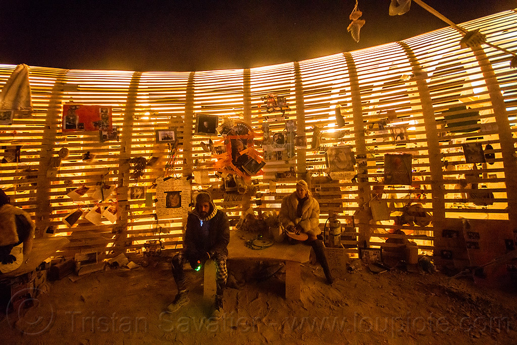 mementos on the temple walls at night - burning man 2015, architecture, burning man, frame, mementos, night, temple of promise