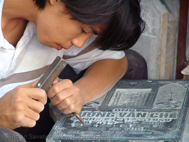 memorial stone engraving, child labor, engraver, etched, hanoi, kid, stone chisel, stone engraving, stone etching, sweatshop, uong van che, ương văn chế
