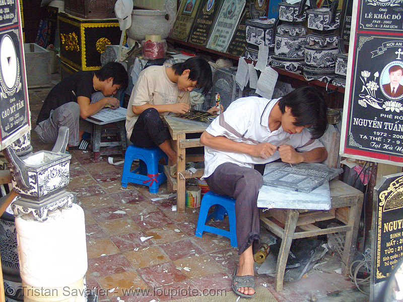 memorial stone engraving workshop, engravers, etched, hanoi, stone engraving, stone etching, sweatshop, workshop
