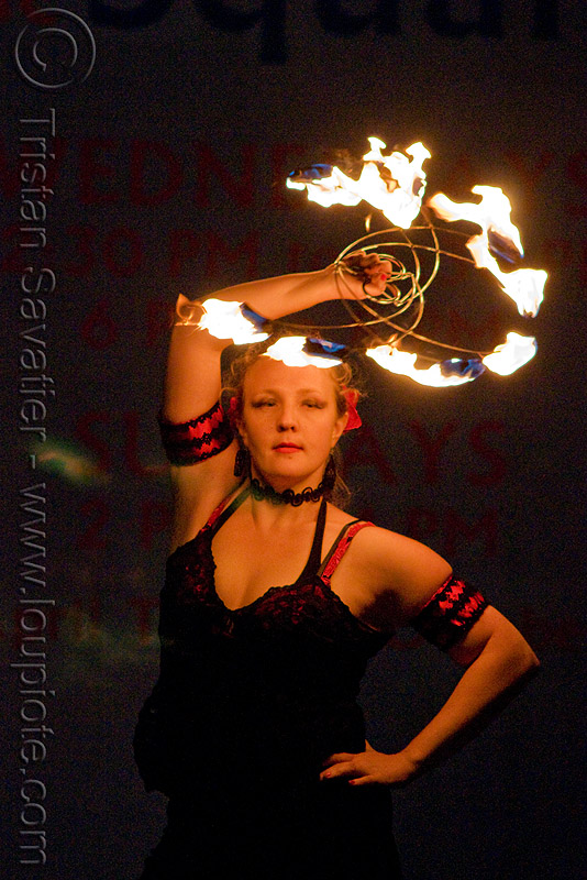 memory with fire fans - fire performer - temple of poi 2009 fire dancing expo - union square (san francisco), fire dancer, fire spinning, flames, lena, night, people, pyrotation, spinning fire, woman
