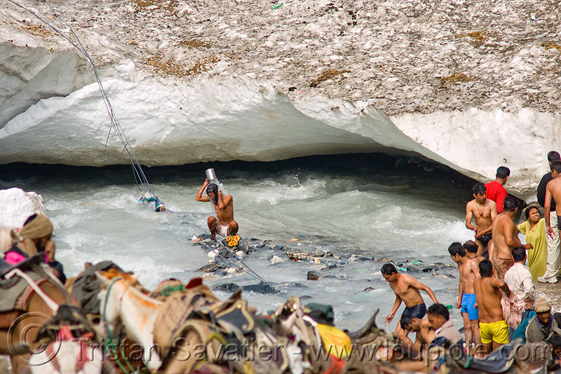 men bathing in ice-cold river - amarnath yatra (pilgrimage) - kashmir, amarnath yatra, bath, glacier, hiking, hindu pilgrimage, india, kashmir, pilgrims, river, rope, snow, trekking