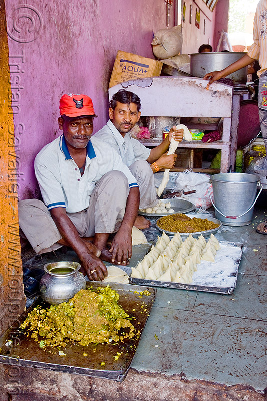 men preparing samosas - sanawad (india), baking, cooking, doe, kitchen, people, sitting, street food
