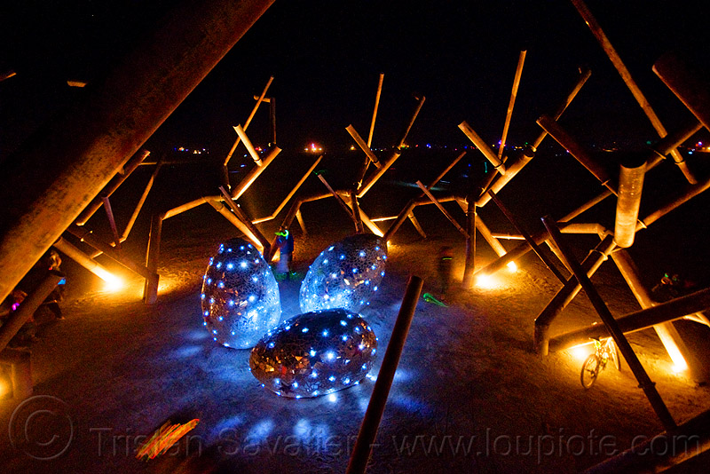Ménage à trois - burning man 2009, art installation, burning man, giant eggs, glowing, led lights, menage a trois, mosaic, ménage à trois, night, rob buchholz, three