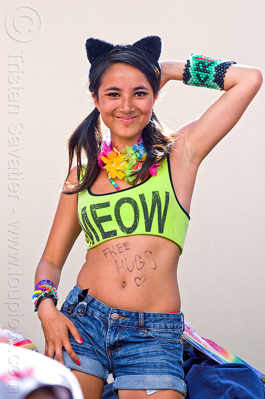 meow tank top, beads bracelets, cat ears headband, dancing, flower necklace, free hugs, gay pride festival, jeans short, kandi cuffs, kandi raver, meow, party fashion, rainbow necklace, rave fasion, tank top, woman