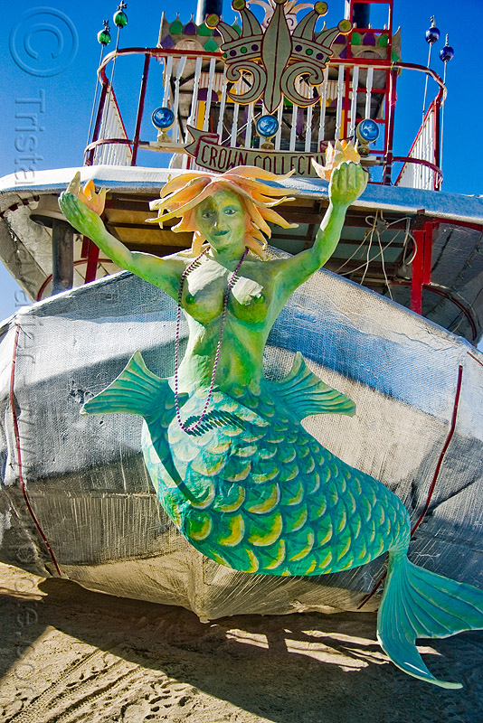 mermaid figurehead on steamer art car - lady sassafras - burning man 2009, art ship, boat, crown collective, steam boat
