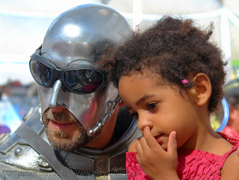 metal full face armor - warrior and kid - burning-man 2006, armor, art, burning man, center camp, child, goggles, kid, metal, sunglasses