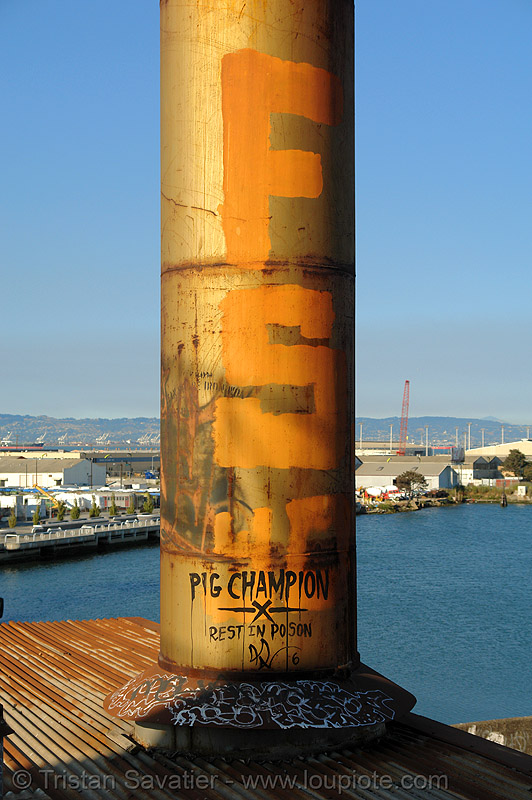 metal smokestack - abandoned factory (san francisco), abandoned factory, derelict, graffiti, industrial, pig champion, roof, rusted, rusty, smokestack, tags, tie's warehouse, trespassing