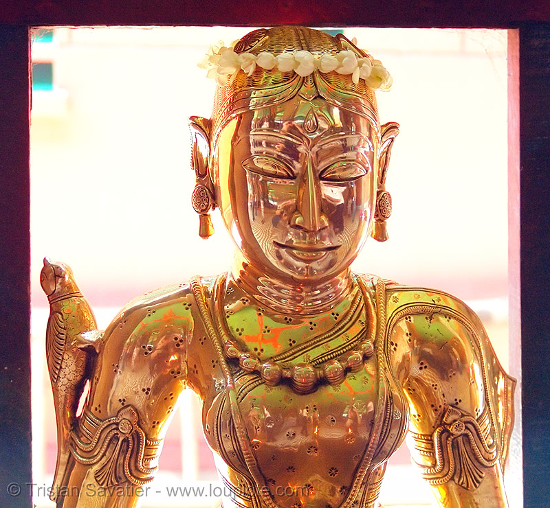 metal statue of a kho me goddess - deity - vietnam, brass, female, golden, golden color, khmer krom, kho-me, people, sculpture, temple, woman