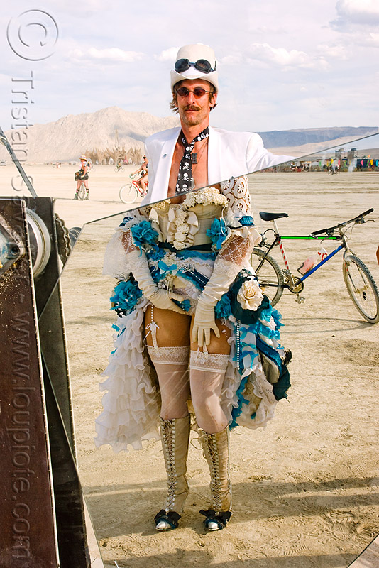 metamorphosis by alex andre thevenot - burning man 2009, alex andre thevenot, burning man, couple, garters, metamorphosis, mirror, playa, queen marie antoinette, reflection, victorian fashion, woman, yanina