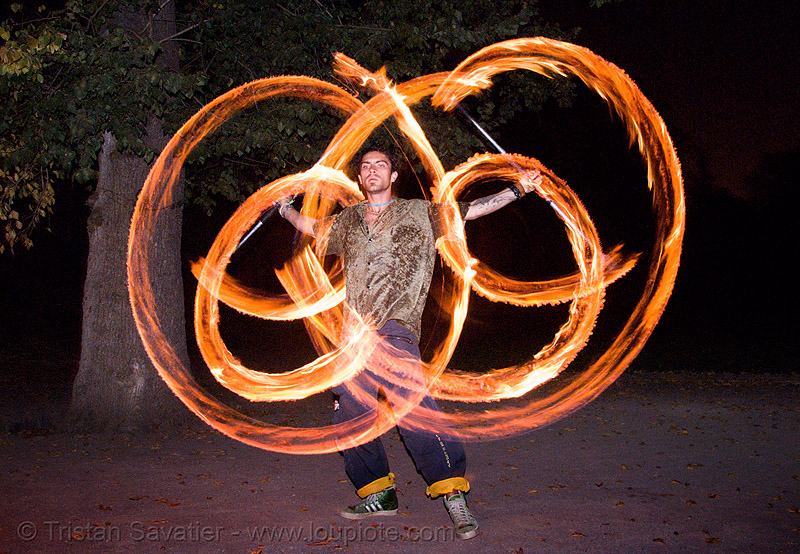 miah spinning fire staffs (san francisco), double staff, fire dancer, fire dancing, fire performer, fire spinning, fire staffs, fire staves, miah, night, spinning fire