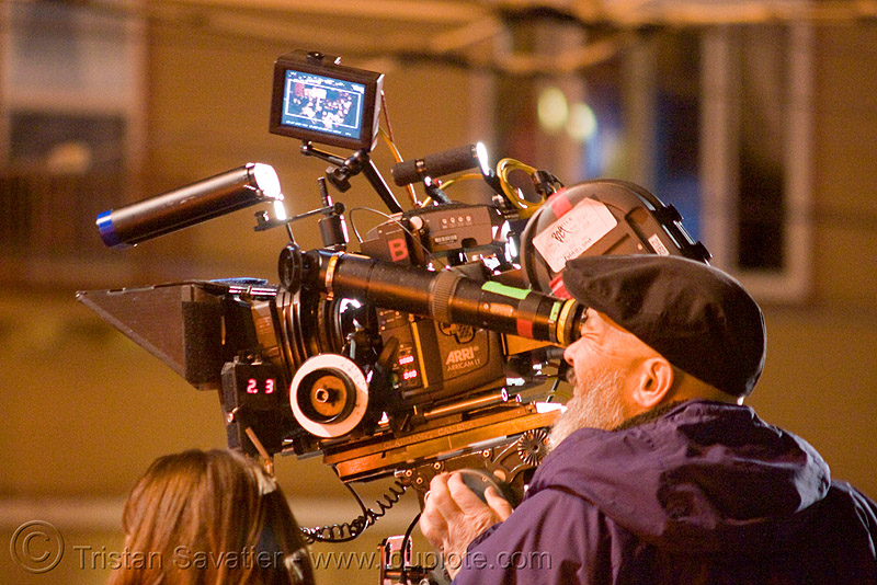 "michael chin and film camera - the making of the movie ""milk"" (harvey milk) in the castro (san francisco), camera man, camera operator, castro, gay rights, harvey milk, making of, michael chin, milk march, movie camera, protest"
