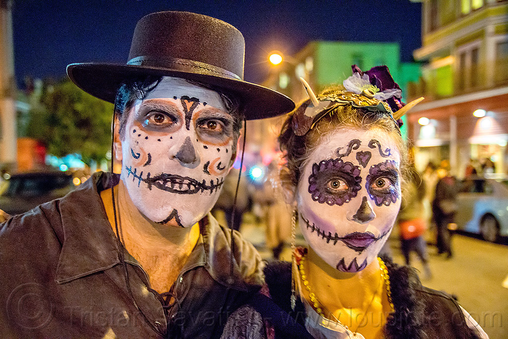 michael paim and louise with sugar skull makeup - dia de los muertos, couple, day of the dead, face painting, facepaint, halloween, man, night, people, woman