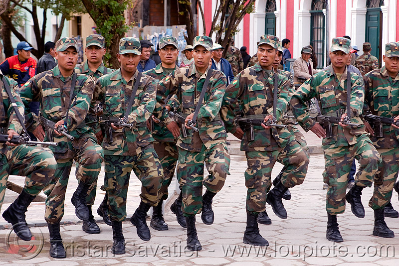 military parade - uyuni (bolivia), armed, army, assault weapons, automatic weapons, combat troops, exercise, fatigues, infantery, infantry, men, military parade, rifles, soldiers, submachine guns, training, uniform, uyuni