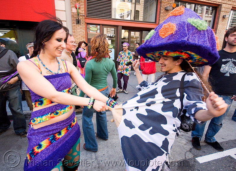 milking the cow - how weird street faire (san francisco), costumes, couple, cow, guy, hat, how weird festival, man, milking, mushroom, nipples, woman