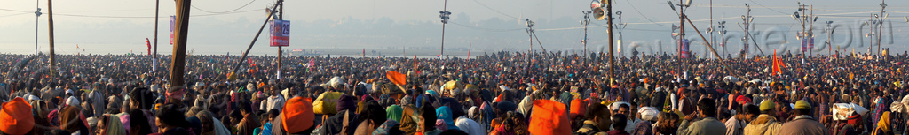 millions of hindu devotees gather at the kumbh mela (india), crowd, hindu pilgrimage, hinduism, india, kumbh maha snan, maha kumbh mela, mauni amavasya, panorama, triveni sangam